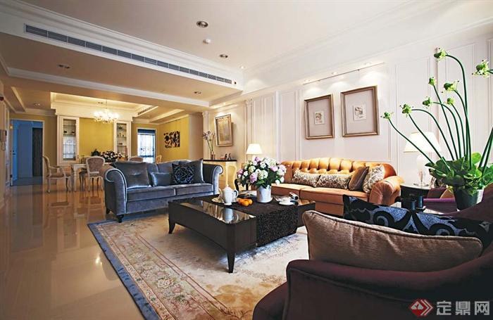 沙发背景墙装修图片-客厅茶几沙发装饰画-设计师图库
