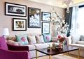 客厅,沙发,茶几,插画摆件,装饰画,背景墙