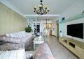 客厅,沙发,茶几,电视墙,电视柜,电视,吊灯,镂花隔断