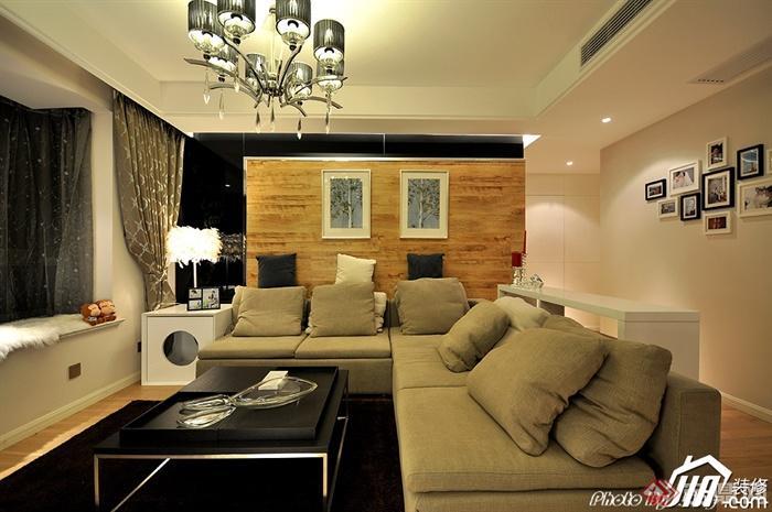 沙发背景墙装修图片-客厅茶几沙发背景墙装饰画飘窗