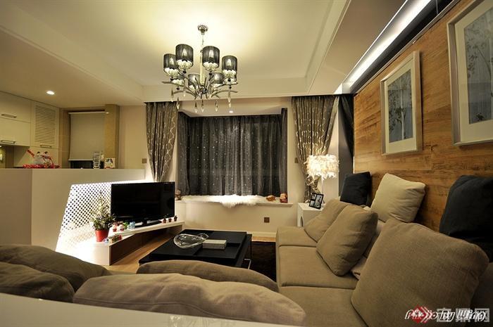 沙发背景墙装修图片-客厅茶几沙发电视柜-设计师图库