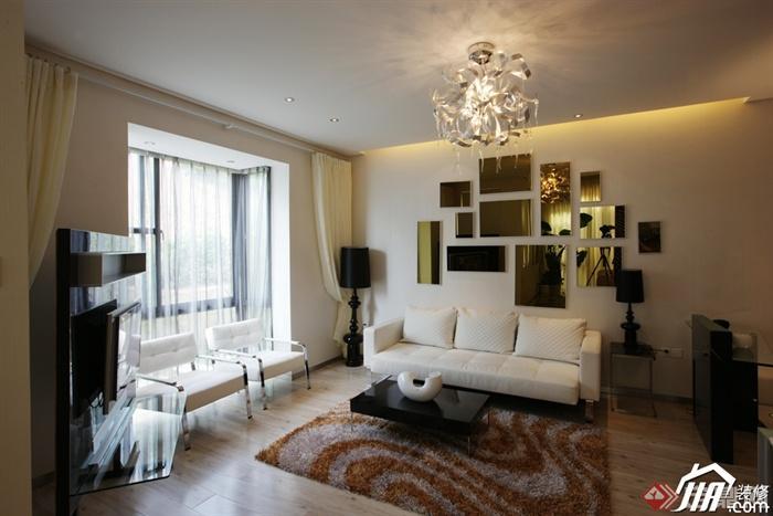 客厅沙发背景墙装修效果图-客厅沙发茶几椅子窗子