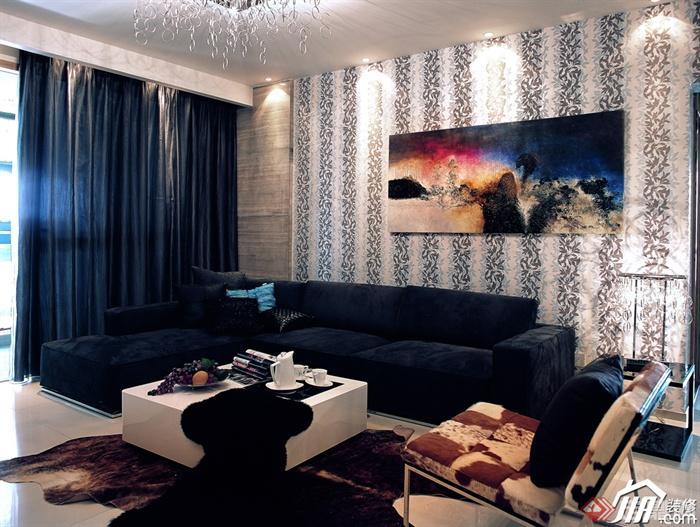 沙发背景墙装修实景图-客厅沙发茶几背景墙装饰画-师