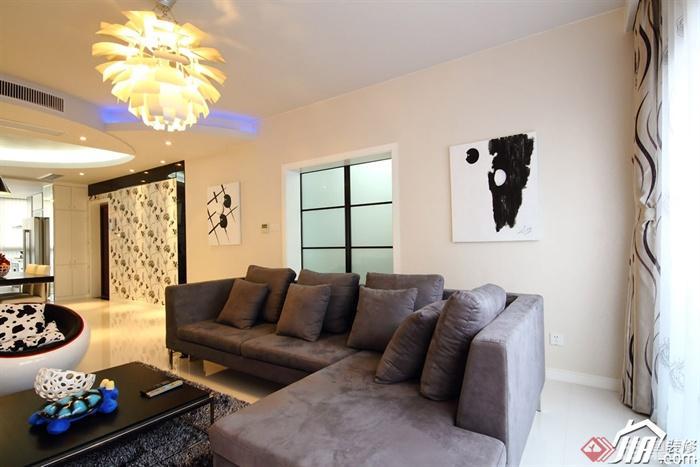 沙发背景墙装修效果图-客厅沙发茶几吊灯-设计师图库