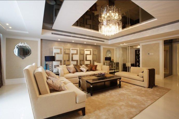 沙发背景墙装修图片-客厅沙发茶几背景墙吊灯-设计师