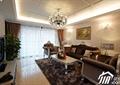 客厅,沙发,茶几,吊灯,台灯,背景墙,壁画,窗帘