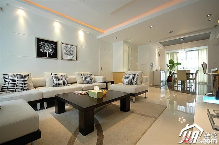 沙发背景墙装修设计图片-客厅沙发茶几背景墙装饰画