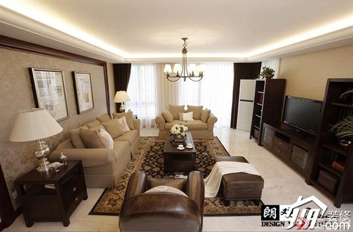 沙发背景墙装修效果图集-客厅沙发茶几吊灯边柜台灯