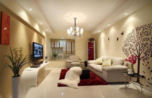 沙发背景墙装修图片-客厅茶几沙发电视架背景墙-设计