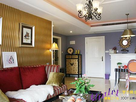 沙发背景墙装修图片-客厅茶几沙发背景墙边柜-设计师图片