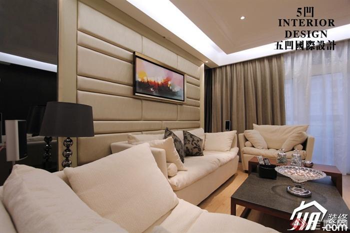 13张客厅酒柜实景室内住宅图-客厅沙发茶几背空间灯槽设计图图片