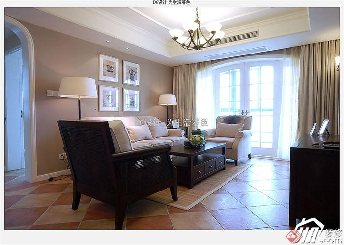 沙发背景墙装修实景图-客厅茶几沙发背景墙装饰画-师