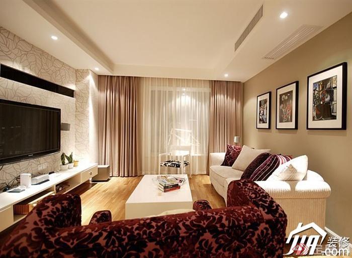 沙发背景墙装修效果图-客厅沙发茶几落地窗背景墙