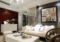 客厅,沙发,茶几,地柜,摆件,背景墙,隔断墙
