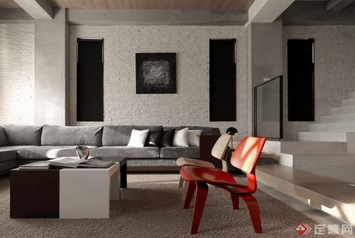 沙发背景墙装修效果图-客厅沙发茶几凳子背景墙-设计