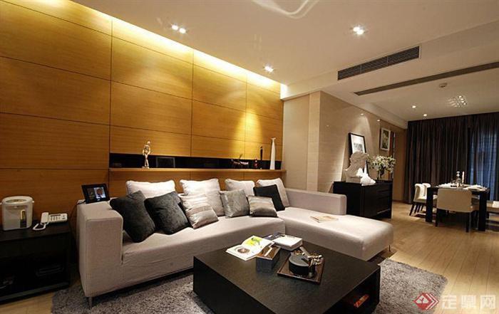 沙发背景墙装修效果图-客厅沙发茶几地柜背景墙-设计