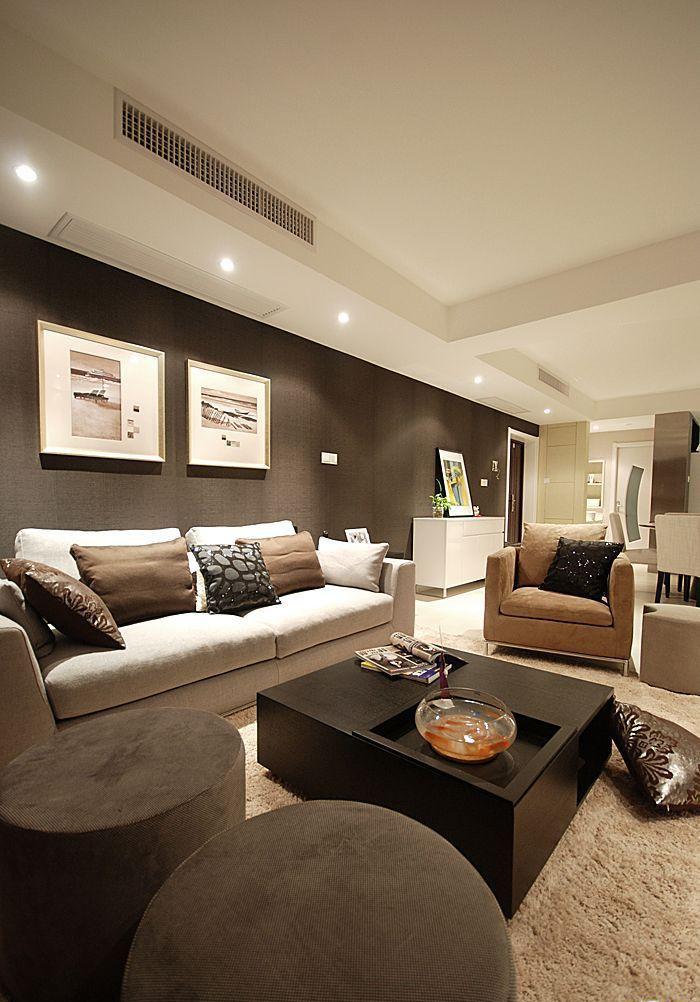 沙发背景墙装修效果图-客厅沙发茶几摆件背景墙装饰