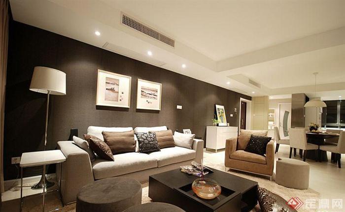 背景墙装修效果图-客厅沙发茶几装饰画背景墙灯饰