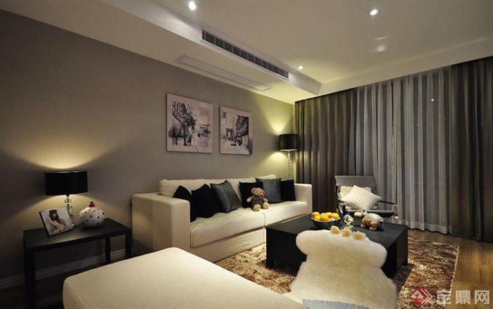 沙发背景墙装修效果图-客厅沙发茶几窗帘装饰画背景