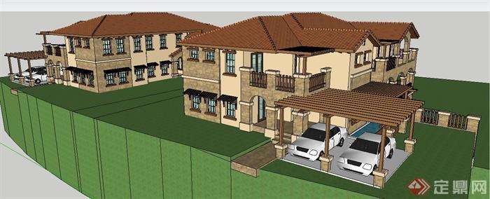 两栋对称式欧式别墅建筑设计su模型