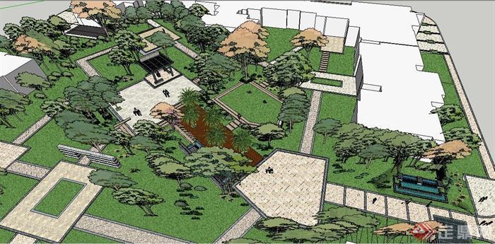 现代中式小公园景观设计su模型(6)