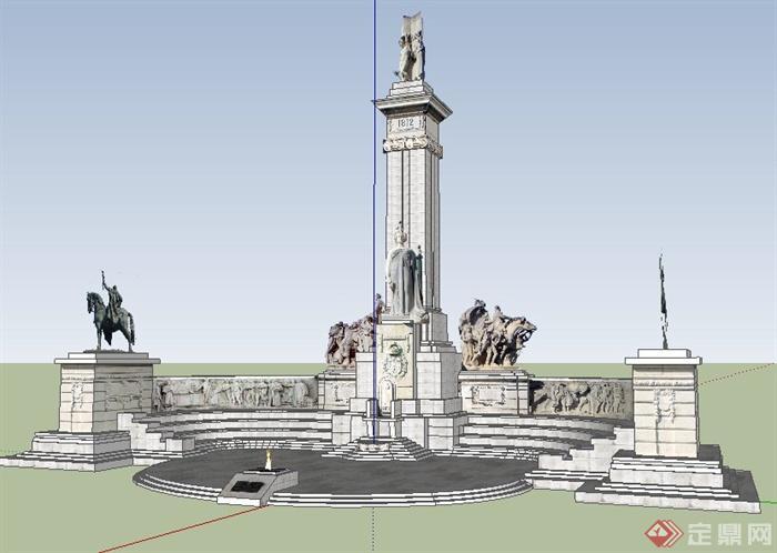 园林景观欧式纪念碑su模型
