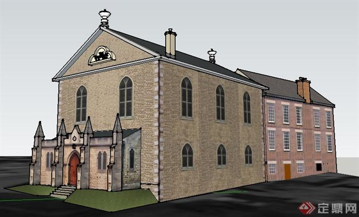 欧式住宅楼及教堂建筑设计su模型