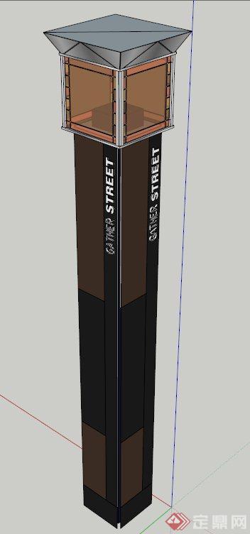 一个灯柱标志柱设计su模型