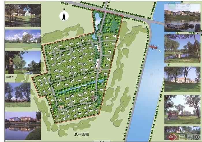 某温玉河别墅区景观规划设计cad图与jpg方案