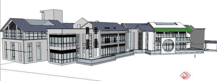 三栋现代新中式风格办公楼建筑设计su模型(1)