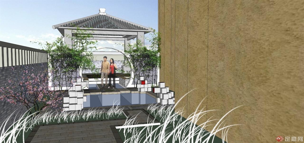 大连现代中式别墅庭院景观-易之风景观