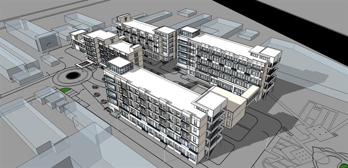 某社会福利院养老院建筑设计(含su模型 ,cad图纸,效果