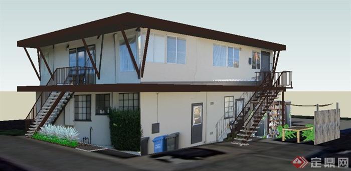 现代风格二层办公楼建筑su模型