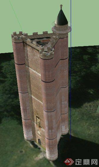 欧式风格三角形城堡建筑设计su模型