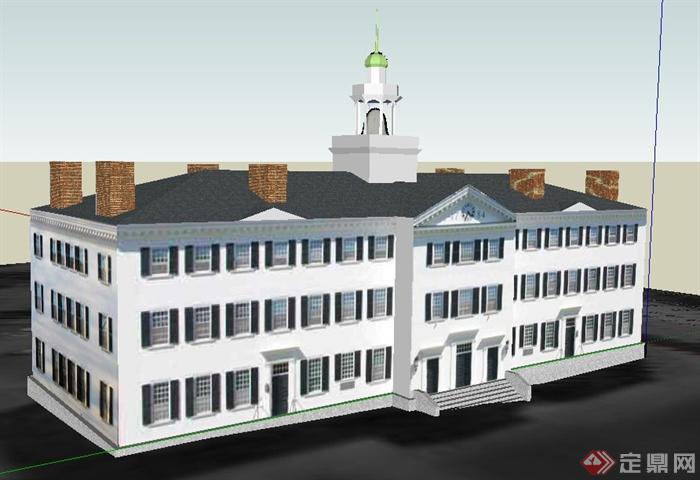简欧风格三层办公楼建筑设计su模型