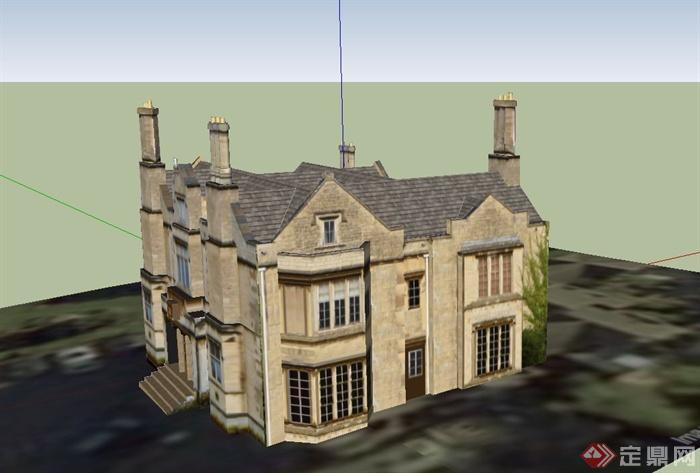 某欧式两层礼堂建筑设计su模型
