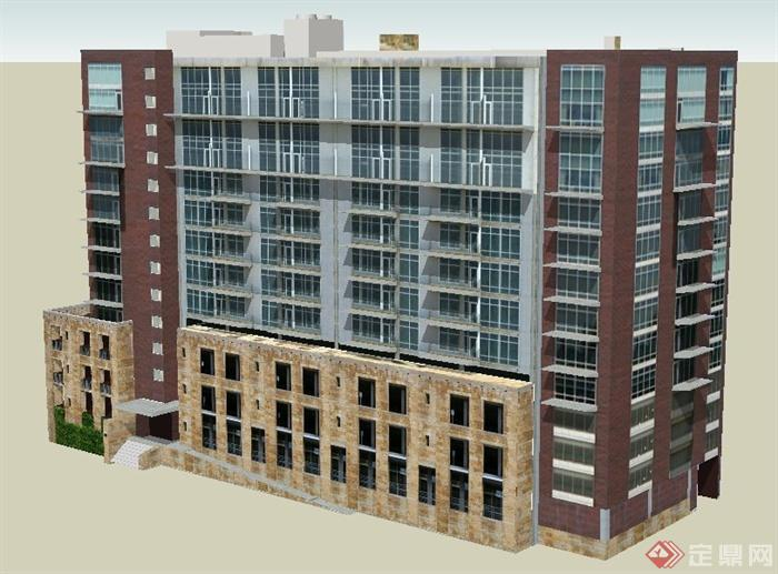 现代十层办公楼建筑设计su模型(2)