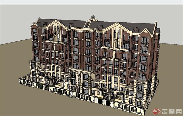 某七层欧式别墅建筑设计su模型(2)