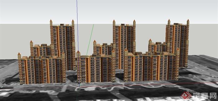 某欧式风格高层住宅小区建筑设计su模型