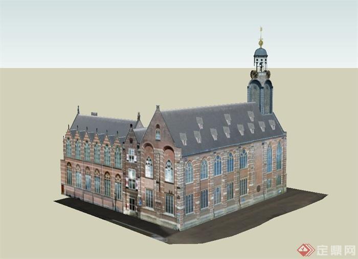 某欧式两层转角行政办公楼建筑设计su模型