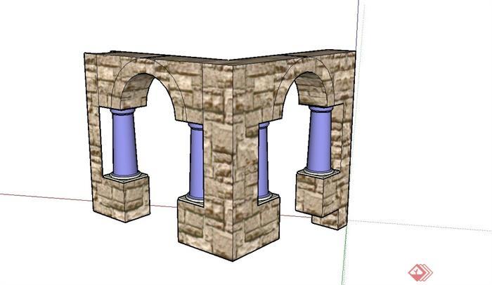 某欧式景观节点门廊设计su模型