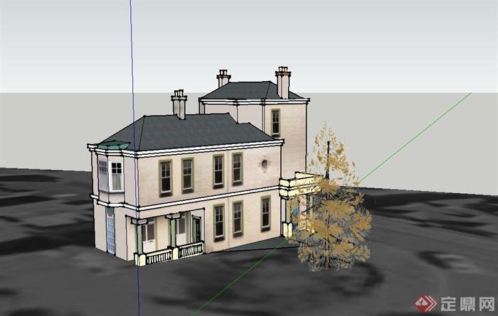 某欧式组合式多层住宅建筑设计su模型