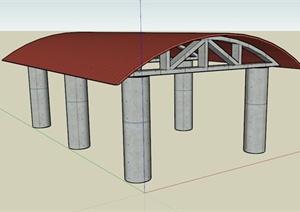一个汽车棚架设计SU(草图大师)模型