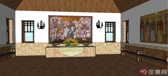 某欧式教会礼堂建筑设计su模型