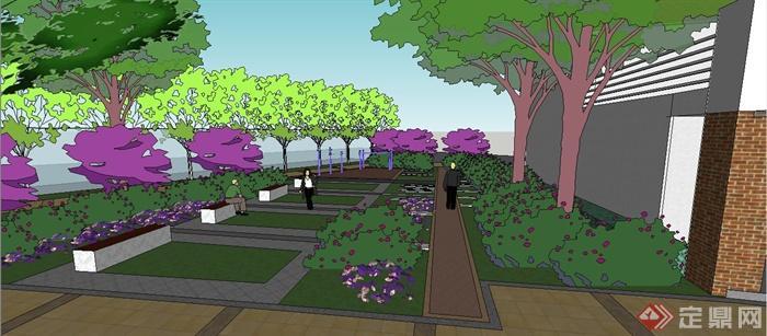 园林景观节点玻璃水景墙设计su模型