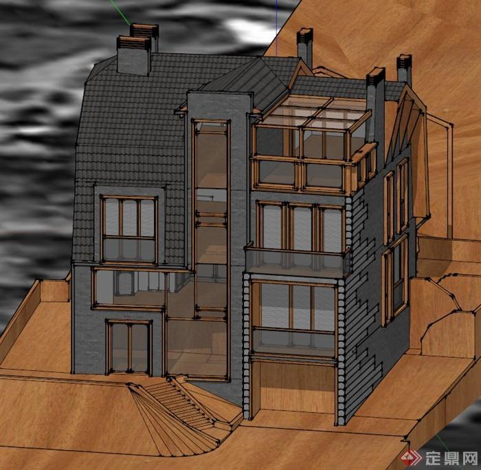 四层模型建筑设计SU别墅国外室内设计高级灰图片