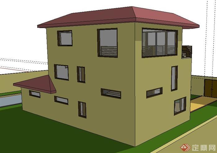 现代风格某三层小别墅建筑设计su模型