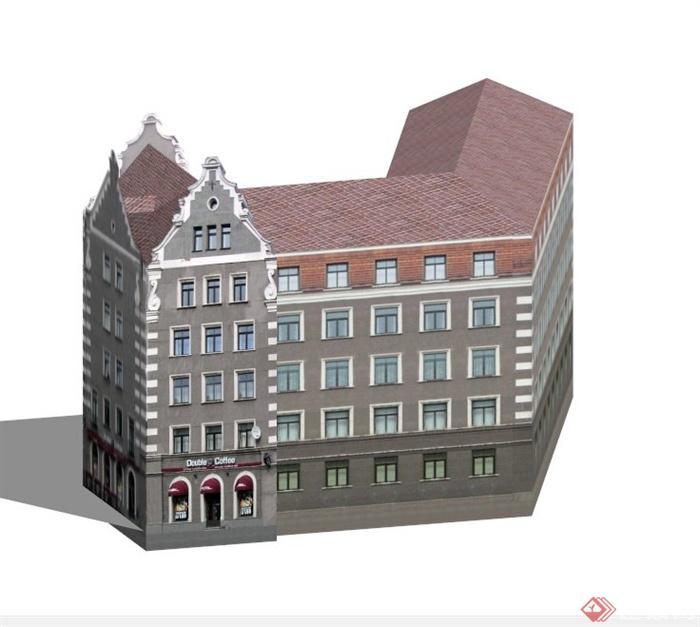 某栋欧式商住楼建筑设计su模型