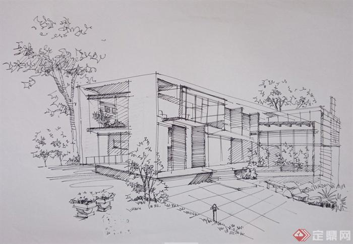两张建筑手绘图