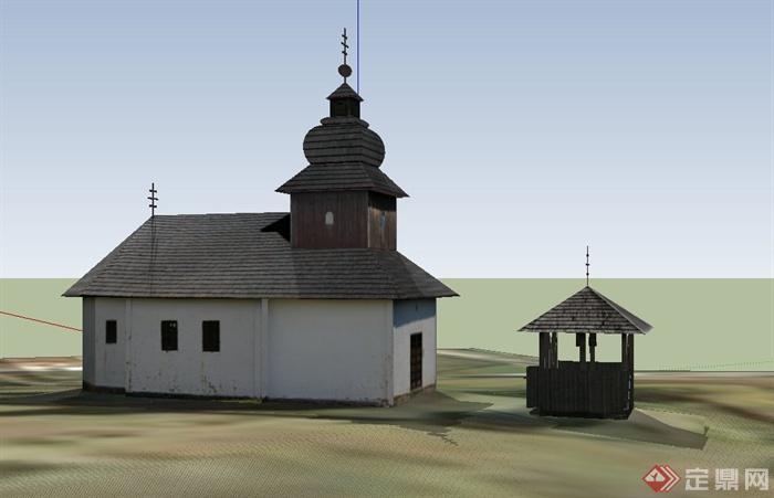 某单层欧式桑拿浴室建筑设计su模型
